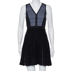 Rebecca Taylor Black Tweed & Lace Pleated Sleeveless Mini Dress S