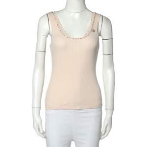 Rebecca Taylor Light Pink Rib Knit Lace Trim Embellished Neck Detail Tank Top M