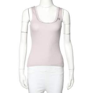 Rebecca Taylor Lilac Rib Knit Lace Trim Embellished Neck Detail Tank Top S