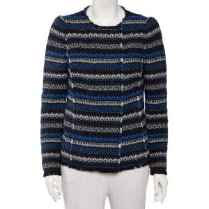 Rebecca Taylor Multicolor Variegated Striped tweed Double Breasted Collarless Jacket M