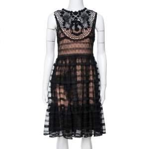 RED Valentino Black/Beige Point D'Esprit Flared Dress S