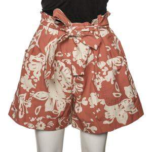 RED Valentino Coral Red Cotton Graphic Flora Printed Shorts M
