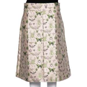 RED Valentino Pale Pink Insect Patterned Jacquard Midi Skirt L