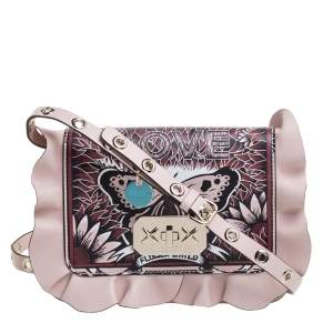 """RED Valentino Nude Leather """"Butterfly Stay Wild"""" Print Rock Ruffles Crossbody Bag"""