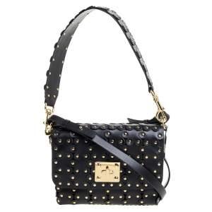 RED Valentino Black Leather Flower Puzzle Shoulder Bag