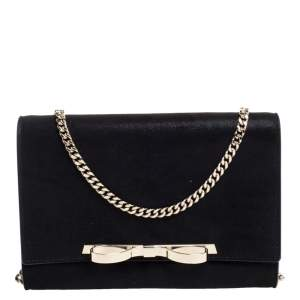RED Valentino Black Shiny Effect Suede Sandie Bow Detail Clutch Bag