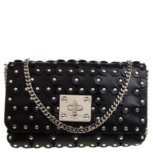 RED Valentino Black Leather Flower Puzzle Clutch Bag