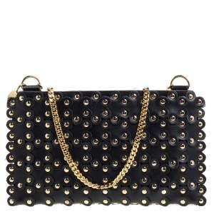RED Valentino Black Leather Flower Puzzle Pochette Bag