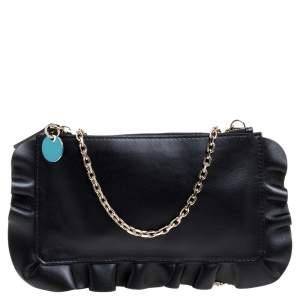 RED Valentino Black Leather Rock Ruffles Pochette Bag
