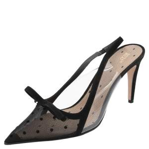 RED Valentino Black Polka Dot Mesh and Suede Slingback Pointed Toe Sandals Size 41