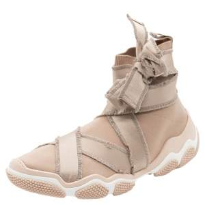 RED Valentino Nude Stretch Fabric Glam Run Ultra Ballet High-Top Sneakers Size 38