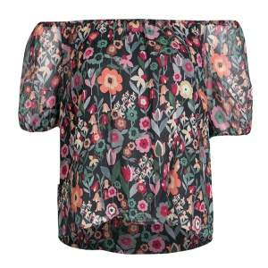 RED Valentino Black Fancy Floral Print Silk Off Shoulder Top S