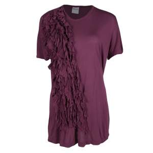 RED Valentino Burgundy Ruffle Detail Short Sleeve Top L
