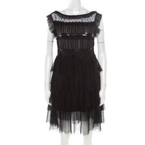 RED Valentino Black Tulle Embellished Sheer Yoke Detail Plisse Tiered Dress S