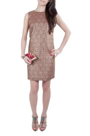 Red Valentino Brown Floral Lurex Jacquard Sleeveless Shift  Dress S