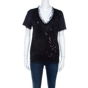 RED Valentino Black Knit Sequined Lace Trim V Neck Top S