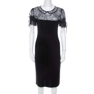 RED Valentino Black Wool Jersey Floral Lace Trim Midi Dress S