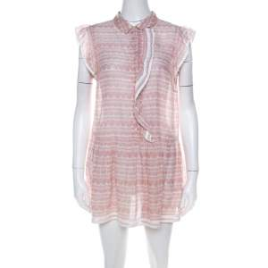 Red Valentino Pale Pink Cotton Ruffled Detail Short Dress M