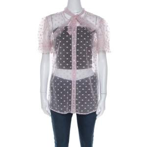Red Valentino Pale Pink Tulle Bow Tie Detail Sheer Blouse L