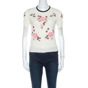 RED Valentino Cream Floral Applique Cotton Knit Top S