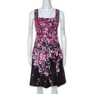 فستان ريد فالنتينو تافيتا مطبوع مورد خصر مزين طيات قصير أسود L