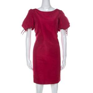 RED Valentino Raspberry Red Tonal Jacquard Puff Sleeve Dress L