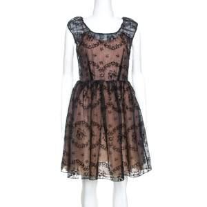 فستان رد فالنتينو قصير أورجانزا بورنأوت زهور أسود S