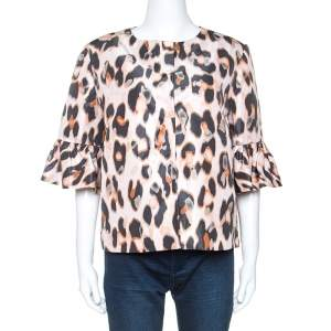 Red Valentino Pale Pink Leopard Print Lightweight Jacket XL