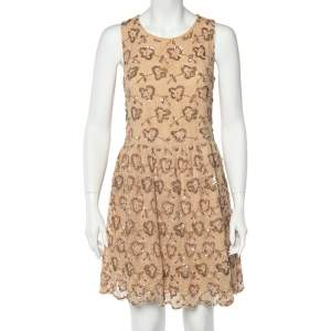 RED Valentino Beige Embellished Lace Bow Detail Mini Dress L