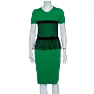 Red Valentino Green Wool Contrast Trim & Lace Frill Detailed Dress L