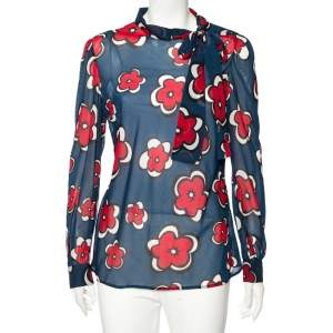 RED Valentino Navy Blue Floral Printed Silk Buttoned Shoulder Detail Blouse L