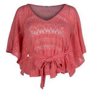 Red Valentino Coral Pink Knit Perforated Belted Top M