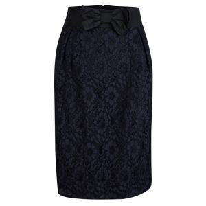 Red Valentino Black and Navy Blue Lace Top and Skirt Set S/M