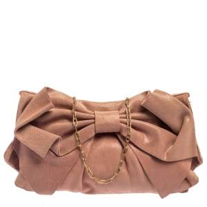 Red Valentino Pink Textured Leather Bow Flap Chain  Shoulder Bag