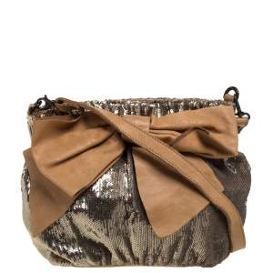 Red Valentino Light Brown/Metallic Gold Sequin and Leather Bow Crossbody Bag