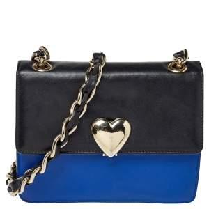 RED Valentino Blue/Black Leather Flap Shoulder Bag