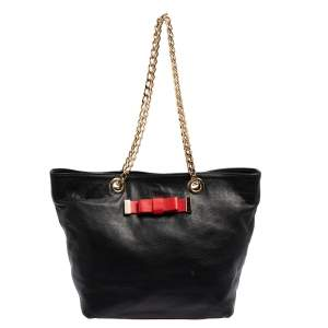 Red Valentino Black/Red Leather Bow Chain Shoulder Bag