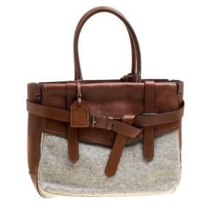 Reed Krakoff Brown/Grey Leather and Wool Gator Boxer II Duffle Bag