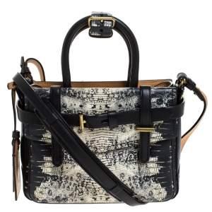 حقيبة يد ريد كراكوف Gator Boxer نمط جلد ثعبان بيضاء/ سوداء