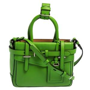 Reed Krakoff Lime Green/Black Leather Boxer Tote