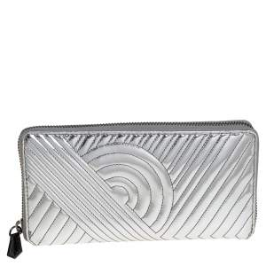 Reed Krakoff Silver Leather Zip Around Wallet