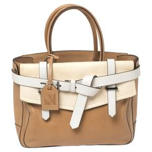 Reed Krakoff Tan/Cream Leather Boxer Tote