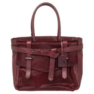 Reed Krakoff Burgundy Calf Hair And Leather Boxer Tote