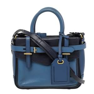 Reed Krakoff Two Tone Blue Leather Micro Boxer Tote