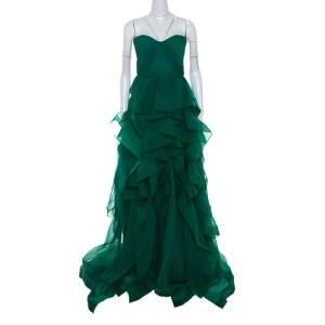 فستان سهرة ريم عكرا حرير شيفون أخضر بطبقات مكشكشة بلا حمالات M