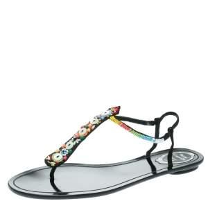 René Caovilla Black Satin Beads Embellished Flat Thong Sandals Size 41