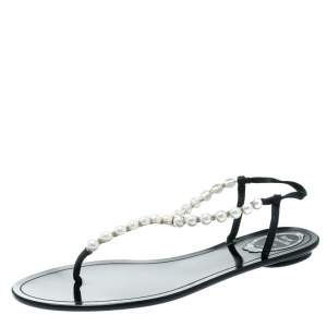 René Caovilla Faux Pearl Embellished Flat Thong Sandals Size 41