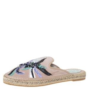 Rene Caovilla Beige Embroidered Suede And Crystal Embellished Espadrille Flats Size 38