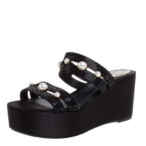René Caovilla Black Crystal Embellished Suede Leather Lucia Wedge Platform Sandals Size 37