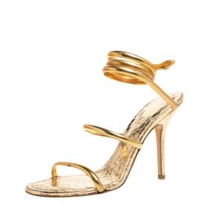 Rene Caovilla Gold Metal and Python Embossed Leather Cleo Sandals Size 38